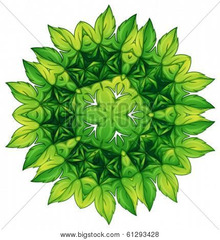 Illustration of a green leafy border design on a white background