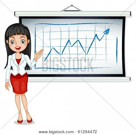 Illustration of a formal lady in front of the bulletin board on a white background