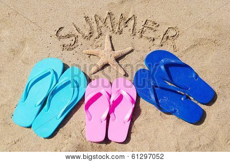 Summer Background With Flip Flops