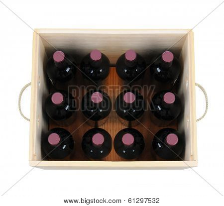 A wooden wine case with twelve bottles. High angle shot looking down into the wood crate. The box has rope handles and is isolated on white.