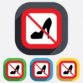 No Women's shoe sign icon. High heels shoe.