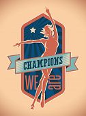 Badge design of champions with a pretty figure skater on ice. Editable vector illustration.