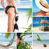 stock photo of string bikini  - summer beach theme collage composed of a few images - JPG