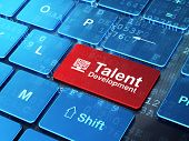 Education concept: Computer Pc and Talent Development on computer keyboard background