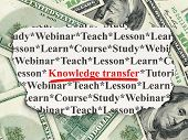 Education concept: Knowledge Transfer on Money background