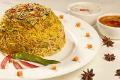 image of biryani  - Close up View of Hot delicious vegetable biryani - JPG