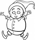 stock photo of gnome  - Black and White Cartoon Illustration of Happy Gnome or Dwarf for Coloring Book - JPG