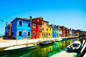stock photo of boat  - Venice landmark Burano island canal colorful houses and boats Italy - JPG