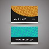 Business Card Template with Colorful Checkered Pattern