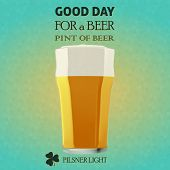 image of guinness  - Illustration of a beer pilsner light for a St. Patrick Day. Green 