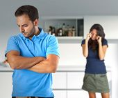 image of wife-beater  - Couple in quarrel for problems related to alcohol - JPG