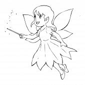 image of faerys  - Outline illustration of a little fairy for coloring page - JPG