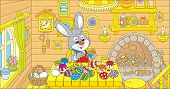 pic of cony  - Rabbit coloring Easter eggs to the holiday in his kitchen - JPG