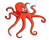 Cute red octopus with curling tentacles