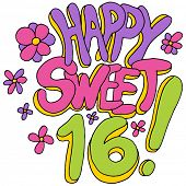 image of sweet sixteen  - An image of a happy sweet sixteen message - JPG