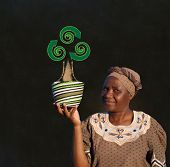 stock photo of zulu  - South African Zulu woman basket sales woman blackboard recycle tree - JPG