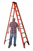 stock photo of knockout  - Man walking under a ladder - JPG