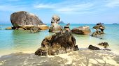 picture of langkawi  - Landscape with giant boulders at beach - JPG