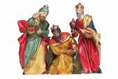 Three wisemen nativity scene figures cutout, isolated on white background