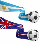 Uruguay & England Flag With Soccer Ball