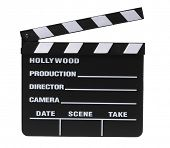 movie picture clapper board on white