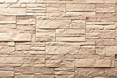 picture of old stone fence  - Decorative slate beige stone wall pattern - JPG