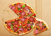 picture of salami  - Salami pizza over box - JPG