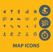 map, navigation icons set, vector
