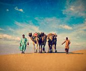 pic of dune  - Vintage retro hipster style travel image Rajasthan travel background  - JPG