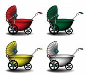 image of babysitting  - Colorful baby carriages isolated on white background - JPG