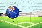 Illustration of a ball hitting a goal with the New Zealand flag
