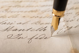 pic of cursive  - Fountain pen writing on an old handwritten letter - JPG
