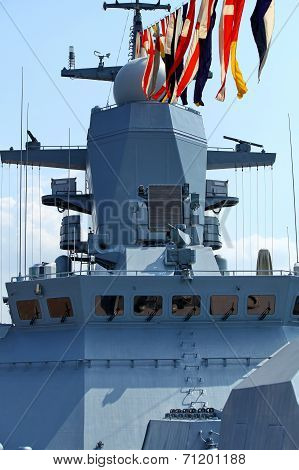 naval flags on a warship