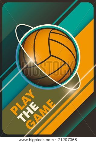 Illustrated volleyball poster in color. Vector illustration.