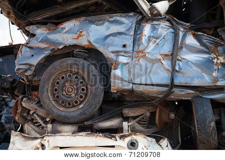 Fragment Of Stacked Cars Dumb In Junkyard