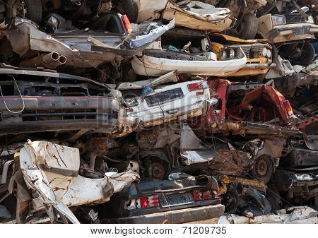 Abstract Background, Dump Of Stacked Cars In Junkyard