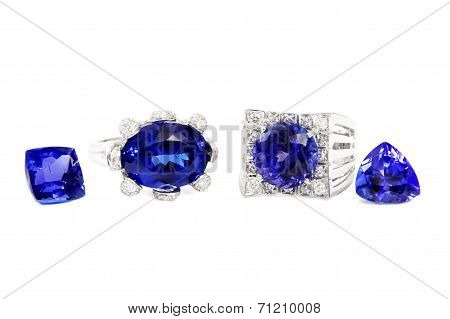 Two Different Ladies Rings with Tanzanite and Diamonds and two Tanzanite Stones, Designer Jewellery,