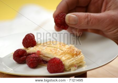 Home Made Bramley Apple Pie With Raspberries