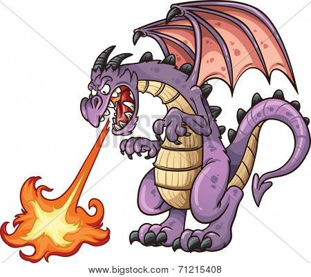 Cartoon dragon spitting fire. Vector clip art illustration with simple gradients. All in a single layer.