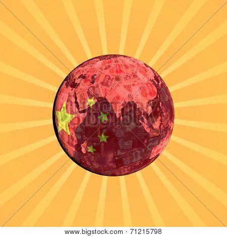 Chinese currency flag globe with sunburst illustration