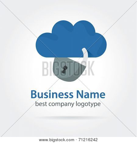 Cloud with lock vector icon on white