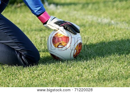 Greek Superleague Brazuca (mundial) Balls On The Goalkeeper's Hand With Gloves During The Training O