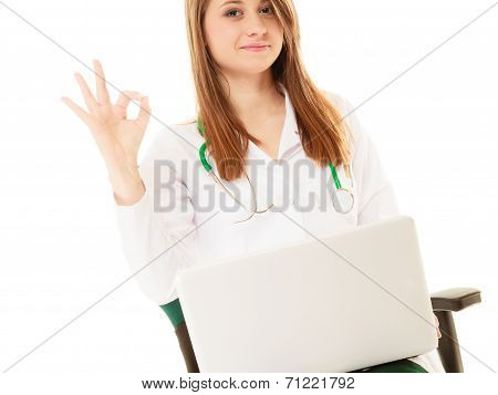 Medical. Woman Doctor Working On Computer Laptop