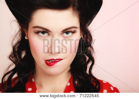 Retro. Pinup Girl Woman Biting Her Lips