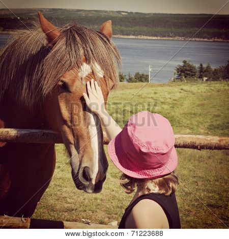 Sweet Instagram Of Young Girl Petting Horse