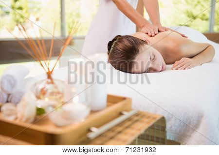 View of an attractive young woman receiving back massage at spa center