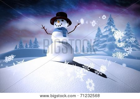 Composite image of snowman against aurora night sky in purple