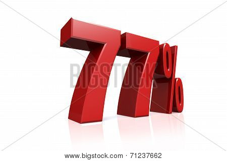 3D Render Text In 77 Percent In Red