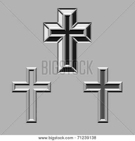 vector 3D stone carved christian crosses