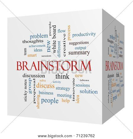 Brainstorm 3D Cube Word Cloud Concept